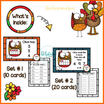 Thanksgiving fun with Todd Turkey + Olive Owl - Ten Frames (4 sets!)
