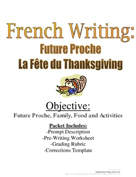 Thanksgiving Future Proche Writing Prompt for French with Rubric, Pre-Writing