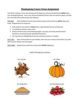 Thanksgiving Future Tense Comic Strip Activity