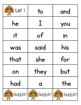 Thanksgiving Sight Words Game