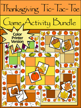 Thanksgiving Game Activities: Thanksgiving Tic-Tac-Toe Games Activitiy Packet
