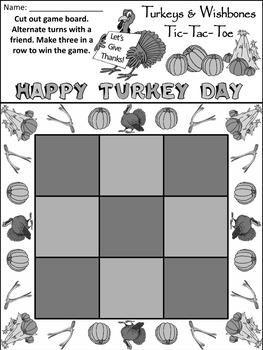 Thanksgiving Game Activities: Turkeys & Wishbones Thanksgiving Tic-Tac-Toe Game