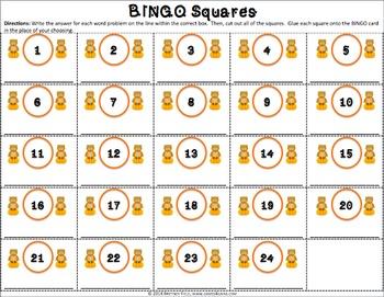 4th Grade Thanksgiving Activity: 4th Grade Thanksgiving Math Bingo Game