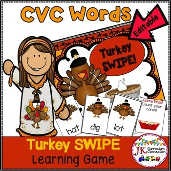 CVC Word Family Game SWIPE -Thanksgiving Theme {EDITABLE}