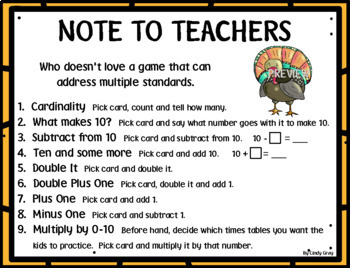 Thanksgiving Game ~ Cardinality, Addition/Subtraction to 20, Multiplication