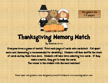 Thanksgiving Game: Memory Match!