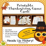 Thanksgiving Game - Plymouth Colony Fact Review