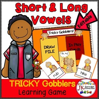 CVC & CVCe Word Game! Tricky Gobblers  - Thanksgiving Theme {EDITABLE}