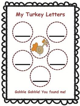 Thanksgiving Game Turkey Hunt (Letter Recognition)