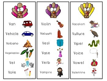 Thanksgiving Game for Speech Sounds- f v s z sounds.