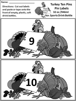 Thanksgiving Games Activities: Turkey Ten Pins Thanksgiving Math Game Activity