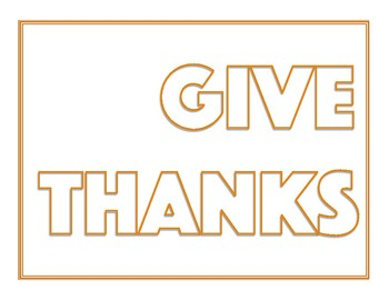 Thanksgiving - Give Thanks - Word Art Poster