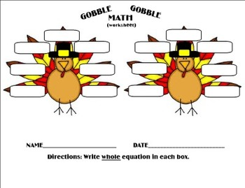 Thanksgiving Gobble Gobble Math Facts - Intermediate Games PDF
