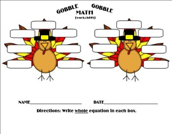 Thanksgiving Gobble Gobble Math Facts - Primary Games PDF