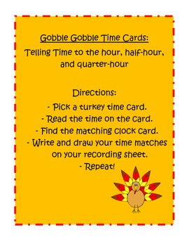 Thanksgiving Gobble Gobble Time Cards - Common Core St. 1.MD.3 and 2.MD.7