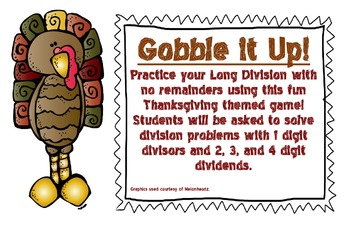 Thanksgiving Gobble It Up! A Long Division Game
