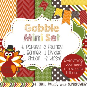 Digital Paper and Frame Mini Set Thanksgiving