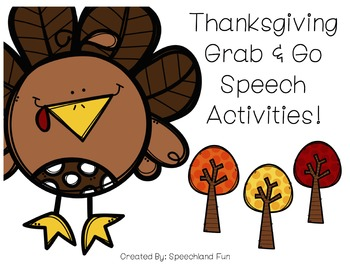 Thanksgiving Grab & Go Speech Therapy Activities- Autumn/Fall