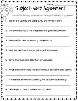 Thanksgiving Grade 3 Grammar