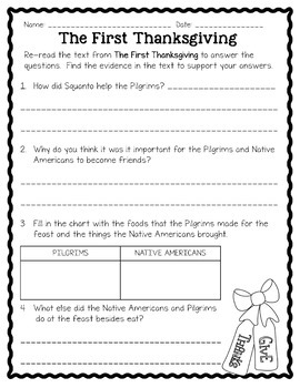 Thanksgiving Reading Comprehension Passages and Activities