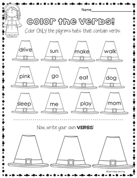 Thanksgiving Grammar 1st Grade