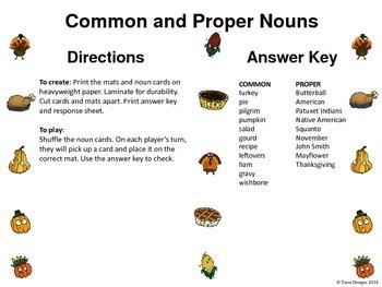 Thanksgiving Grammar - Common and Proper Nouns