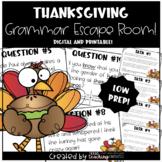 Thanksgiving Grammar Escape Room Distance Learning BUNDLE