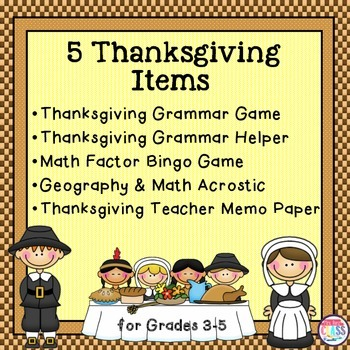 Thanksgiving Grammar Plus Math & Geography Activities
