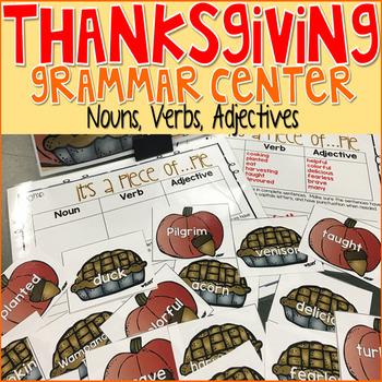 Thanksgiving Grammar Nouns, Verbs, Adjectives Game
