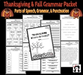 Thanksgiving Grammar Packet (Language Arts, Parts of Speech, Punctuation)