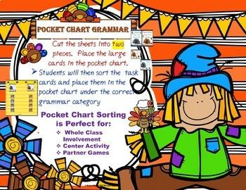 Thanksgiving Grammar Pocket Chart Differentiated Activities