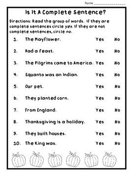 Thanksgiving Grammar Practice