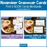 Thanksgiving Grammar Print Task Cards & BOOM Cards BUNDLE