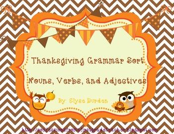 Thanksgiving Grammar Sort
