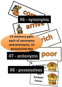 Thanksgiving Grammar - Synonyms, Antonyms, Possessives