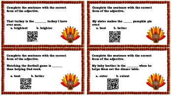 Thanksgiving Grammar Task Cards with QR Scan Codes