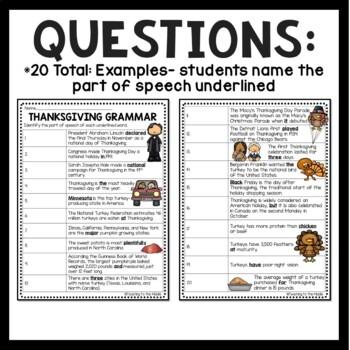 Thanksgiving Grammar Worksheet- November, Parts of Speech Identification