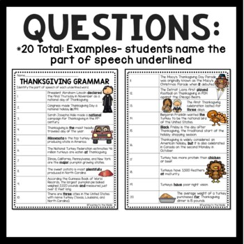 Thanksgiving Grammar Worksheet- November, Parts of Speech Identification