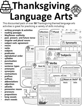 Thanksgiving Grammar Worksheet Thanksgiving Grammar Activities Language Arts