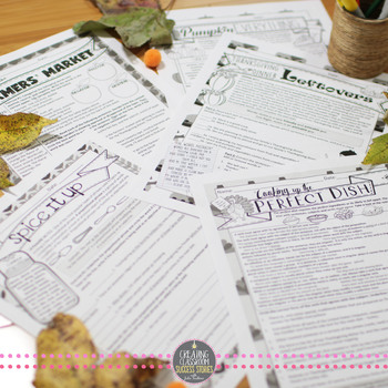 Thanksgiving Grammar Worksheets, NO PREP, Middle and High School