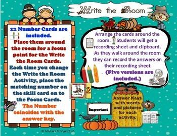 Thanksgiving Grammar Write the Room Activities