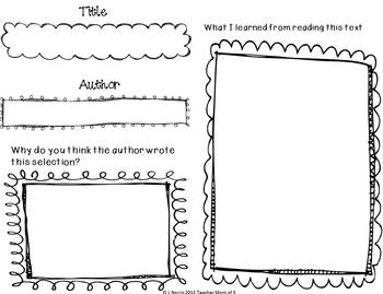 Fall Autumn Theme Graphic Organizers for Nonfiction/Informational Reading