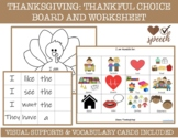 Thanksgiving Grateful Choice Board, Vocabulary and Workshe