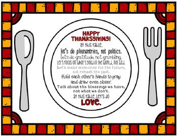 Thanksgiving Grateful Placemat