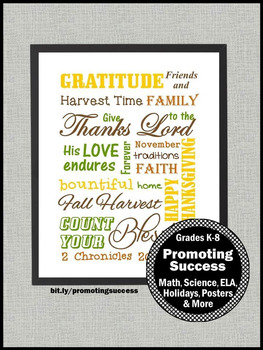 Thanksgiving Poster, Subway Art Quotes Sign, Religious Classroom Decor