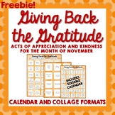 Thanksgiving, Gratitude and Kindness Calendar and Activities