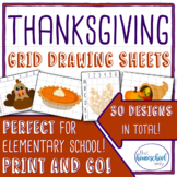 Thanksgiving Grid Drawing Set - Elementary and Homeschool