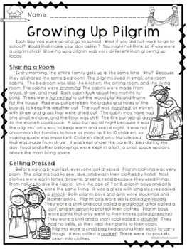 """Thanksgiving- """"Growing Up Pilgrim"""" A Non-Fiction Text for Grades 3-5"""