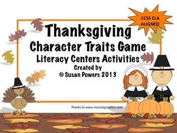Thanksgiving Guess the Character Traits Literacy Centers Activities