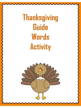 Thanksgiving Guide Words Activity
